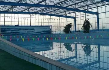 山东客户泳池阳光板采光顶棚,工程案例