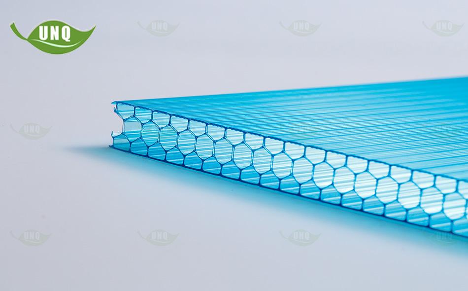 10mm湖蓝蜂窝阳光板